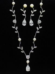 Crystal Bridal Jewelry Set Pearl and Crystal Vine by JamJewels1, $112.00