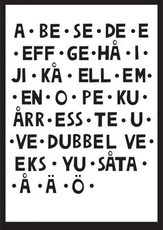 I re-posted this because I really want to learn this language...for me and for my love... Learning Swedish this is how you pronounce the alphabet. All the vowels are long, so A is pronounced Aaah and B is pronounced Beh, C is Seh and so on.