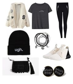 """""""Black"""" by amna-albloushi on Polyvore featuring WithChic, MANGO, MICHAEL Michael Kors and adidas Originals"""
