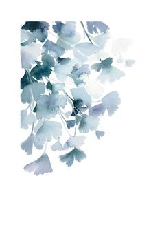 """Blue Ginkgo"" - Art Print by Yao Cheng Design in beautiful frame options and a variety of sizes. Art Floral, Watercolor Leaves, Watercolor Paintings, Watercolors, Art Et Nature, Guache, Inspiration Art, Oeuvre D'art, Flower Art"