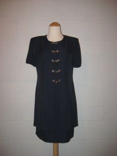 Vintage 1980s Navy Blue Dress / size XS / Petite / by TheRareBird, $26.50
