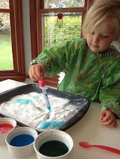 """Eyedropper Volcanos - not really a """"craft"""", but it kept my 2 year old busy for about 30 minutes."""