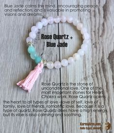 Focus on the love that dreams are made of is the manifestation for this lovely bracelet. DREAM LOVER: Rose Quartz + Blue Jade Yoga Mala Bracelet with Tassel