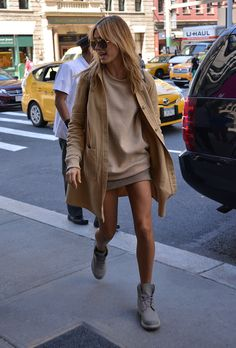 IT GIRL Style: Hailey Baldwin in casual tan + gray ensemble