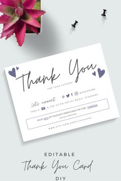 Small Business Cards, Business Thank You Cards, Thank You Card Design, Thank You Card Template, Packaging Design, Branding Design, Thank You Customers, Bussiness Card, 2 Logo