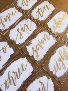 Beautiful acrylic table numbers with hand painted backs, perfect for your modern, vintage, or rustic wedding! We custom paint each piece to the colors you choose! • • • • • • • • • • • • • • • • • • • • • • • • • • • • • • • • • • • • • • • • • • • • • • • • • • • • • • • • • •
