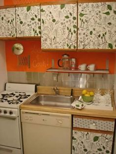 My first line of attack was the cabinet doors. There was no money in the budget to replace them so I bought cotton fabric from Ikea and decoupaged them onto ... : decoupage kitchen cabinets - Cheerinfomania.Com