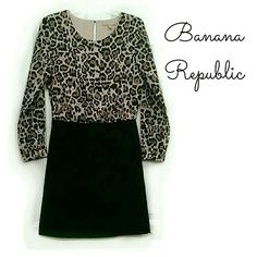 B1G1Free  Banana Republic leopard & black dress So classy, with a touch of sassy!! Looks so much better on!! It would be perfect for the office, wedding, church, party, or just a night out! Great wardrobe staple!   Top is smooth with a satin feel to it. And it's lined, except for the sleeves. Keyhole back with button closure. Bottom has just the right amount of stretch.   Size is 6 Petite, but I think it could also work for a non-petite body.   From Fall collection of last year (2014)…