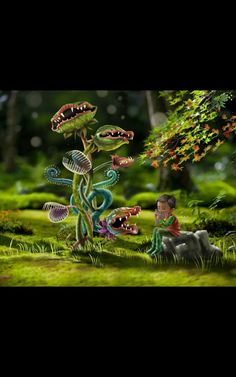 Plantes carnivores By Sabrina Tanase www. Plante Carnivore, Fairy Tales, Illustration Art, Digital Art, Children, Wood, Animals, Young Children, Boys