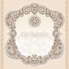 Vecteur : Henna Tattoo Paisley Doodle Frame Vector