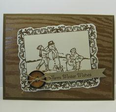 Snow Play Day Card, Christmas, Winter - SU - Winter Memories, Papaya Collage (by Barb Mann)