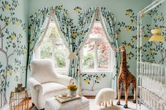 A Magical Nursery by Dina Badman at the 2018 San Francisco Decorator Showcase, de gournay lemon grove wallpaper, giraffe plush, acrylic crib, lalanne style sheep