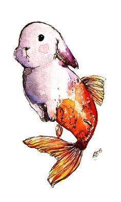 Cute Animal Drawings, Cool Art Drawings, Art Sketches, Cute Fantasy Creatures, Mythical Creatures Art, Hybrid Art, Art Sketchbook, Watercolor Paintings, Ink Painting