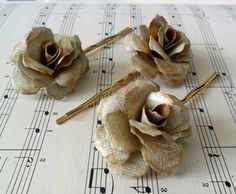 vintage-y hairpins with handmade flowers