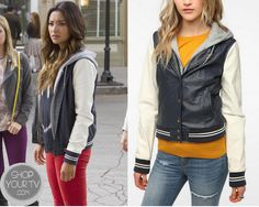 Shop Your Tv: Pretty Little Liars: Season 4 Episode 12 Emily's White and Blue Varsity Jacket Pretty Little Liars Seasons, Pretty Little Liars Fashion, College Fashion, Season 4, Urban Outfitters, Tv Shows, How To Wear, Jackets, Shopping