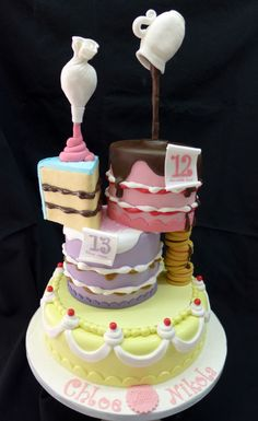Gravity defying stacked cakes