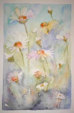 SOLD - OX-EYE DAISIES watercolour painting by by TheMinervaGallery