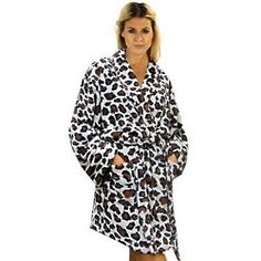 Women's Leopard Print Plush Bathrobe #animalprint
