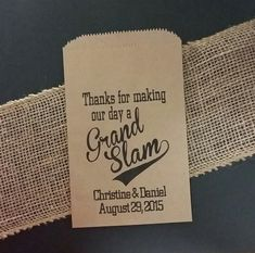 Thanks for making our day a GRAND SLAM popcorn peanut bag wedding favor BAG shower favor bags