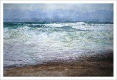 Acuarela de una marina en la Costa da Morte en la que se aprecia el mar y la espuma desde una playa. Una de las acuarelas de Galicia.
