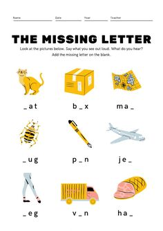 Kindergarten Worksheets, Worksheets For Kids, Printable Worksheets, Printables, Free Printable, Online Graphic Design, Graphic Design Tools, Missing Letter Worksheets, Number Worksheets