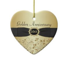 And for a golden wedding anniversary, what a lovely memento:   50th Wedding Anniversary Christmas Ornament. $16.85