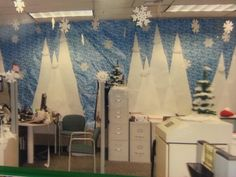 Simple Office Christmas Decoration Ideas Which Are The Best Of All Times - Blurmark christmasbowl Office Birthday Decorations, Christmas Cubicle Decorations, Winter Wonderland Decorations, Winter Wonderland Christmas, Winter Christmas, Christmas Themes, School Decorations, Blue Christmas, Christmas Christmas