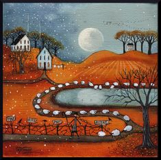 You Are Not Alone a Shepherdess Sheep Fall full by ChicorySkies Art Fantaisiste, Autumn Scenes, Moon Print, All Nature, Autumn Art, Naive Art, Halloween Art, Whimsical Art, Art Pictures