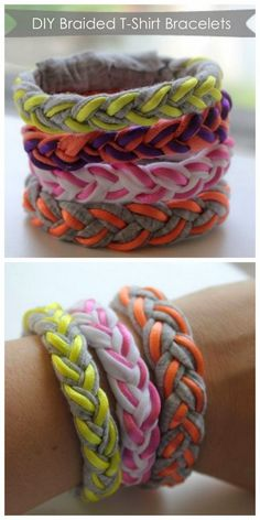 Sew T-Shirt DIY t shirt bracelet - DIY your own braided t-shirt bracelets. Cute Crafts, Crafts To Do, Crafts For Kids, Arts And Crafts, Do It Yourself Mode, Do It Yourself Fashion, Braided T Shirts, T Shirt Bracelet, Diy Bracelet