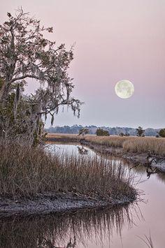 ✮ A full moon rises over Tea Farm Creek, South Carolina