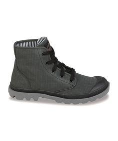 Take a look at this Black & Metal Stonewash Pampa Hi Lite Hi-Top Sneaker by Palladium on #zulily today! $35 !!
