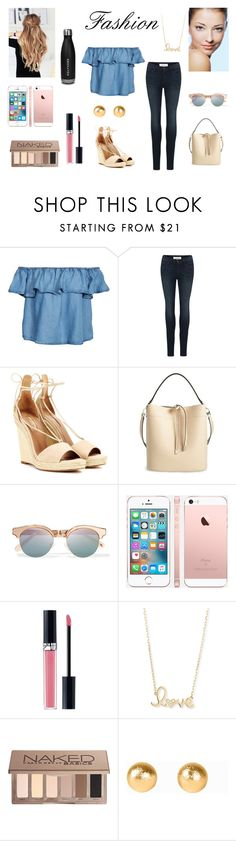 """Contest on the Go"" by kmosenova-karolinka14 on Polyvore featuring New Look, Frame Denim, Aquazzura, Michael Kors, Le Specs, Christian Dior, Sydney Evan, Urban Decay and Snö Of Sweden"