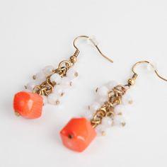 Coral Grape Earrings www.claspandhook.com