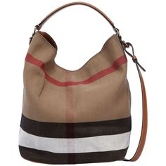 Burberry Women Medium Ashby Check Canvas Hobo Bag ($840) ❤ liked on Polyvore featuring bags, handbags, shoulder bags, brown, brown shoulder bag, shoulder strap handbags, brown handbags, hobo shoulder bags and brown pouch