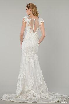 tony ward bridal spring 2016 ida cap sleeve wedding dress lace appliques illusion neckline back view train
