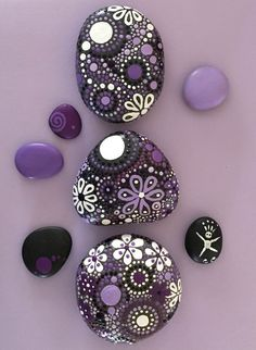 Hand Painted Rocks - Painted Stones - Mandala Design - Purple Nature Art Rocks. Perfect addition to the fairy garden.