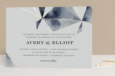 """Prism"" - Modern Foil-pressed Wedding Invitations in Mist by Kelly Ventura."
