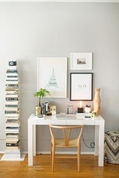How to Style a West Elm Parsons Desk // white lacquer // neutral  // gold // white // black // grey walls // home office space // photography by Danielle Moss // styling by Alaina Kaczmarski
