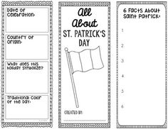 Saint Patrick's Day Research Template with Interactive Notebook Pocket. Your students will locate the following information: the date of celebration, country of origin, Irish flag colors, what does the holiday symbolize, traditional holiday color, Saint Patrick facts, how the student's country celebrates, popular holiday dishes, a short paragraph about believing in luck, explanation of the following symbols - Celtic knot, Claddagh ring, rainbows, leprechaun, and shamrocks.