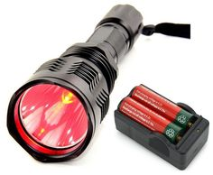 E-More® Brightness Waterproof HS-802 350 Lumens Cree led Flashlight 250 Yard Long Range Hunting Light Cree LED Coyote Hog Hunting Flashlight Light Lamp Torch For Hunting Fishing (Red Light with Battery) -- Check this awesome product by going to the link at the image.