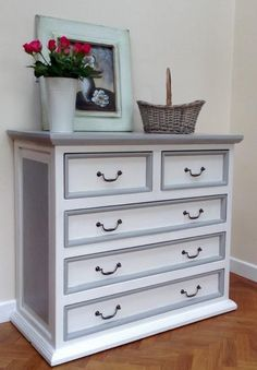 CHEST OF DRAWERS / DRESSER HAND PAINTED IN ANNIE SLOAN OLD WHITE AND PARIS GREY | United Kingdom | Gumtree