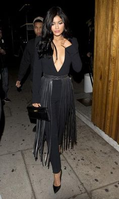 Kylie Jenner just wore an amazing fringed belt as a pseudo-skirt and we're totally in love - click for options to shop