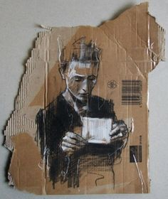 cardboard \ charcoal... Love it!! I used cardboard too as a kid.. Lol who knew it's be so awesome still..