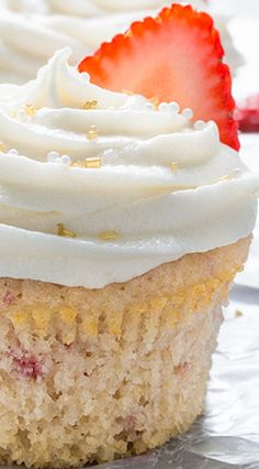 Strawberry Cupcakes with Champagne Frosting