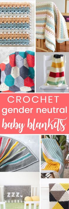 Crochet these easy gender neutral baby blankets. All free crochet patterns for boys and girls!