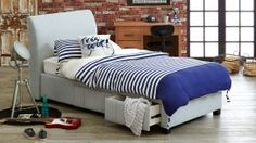 Jett King Single Bedhead with Storage Drawer Base