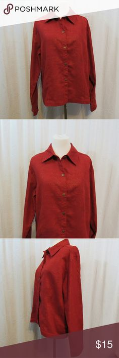 """Chico's Design Red Gold Paisley Top 2 L Brand: Chico's Design  Size: 2 Material: 100% Polyester Care Instructions: Machine Wash  Bust: 44"""" Sleeves: 24"""" Length: 23""""  All clothes are in excellent used condition. No tears, stains or holes unless otherwise I noted.   P127 Chico's Tops Blouses"""