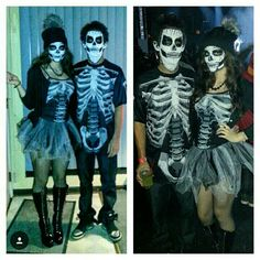 Skeleton costume and make up for couples.