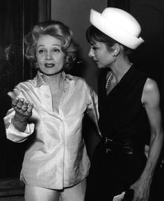 Marlene Dietrich photographed with Audrey Hepburn in Taormina (Italy), on July 28, 1962.