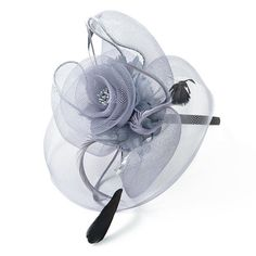 Gray Fascinator   Mesh Rose Couture English Hat by EyeHeartMe,